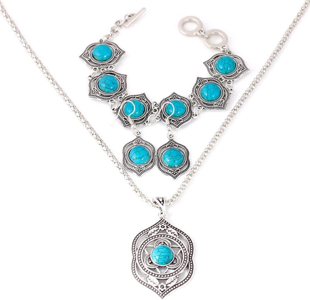 Babysbreath17 Conjunto de Joyas de Piedras Preciosas Colgantes Turquesa del Estilo de Bohemia Collar Pendiente de la Pulsera de Las Mujeres Plata
