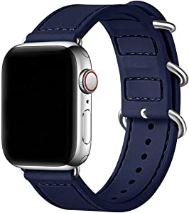 BesBand Compatible with Apple Watch Bands 44mm 42mm 40mm 38mm for Women Men,Soft Silicone Sport Strap Replacement Band for Apple Watch SE & iWatch Series 6/5/4/3/2/1 (Navy blue/Silver, 42mm 44mm)
