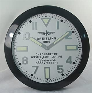Breitling Luminous Silent Sweep Wall Clock, Black+White