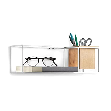 Umbra Cubist Floating Wall Shelf, Small, White