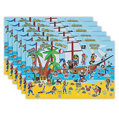 Kicko Make a Pirate Ship Sticker - Set of 12 Giant Stickers Scene for Birthday Treat, Goody Bags, School Activity, Group Projects, Room Decor, Arts and Crafts