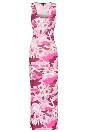 3379df7fbc4 Ladies Floral Camo Racerback Maxi Dress US Size 6-12 (S/M (US 6-8), Pink)  at Amazon Women's Clothing store: