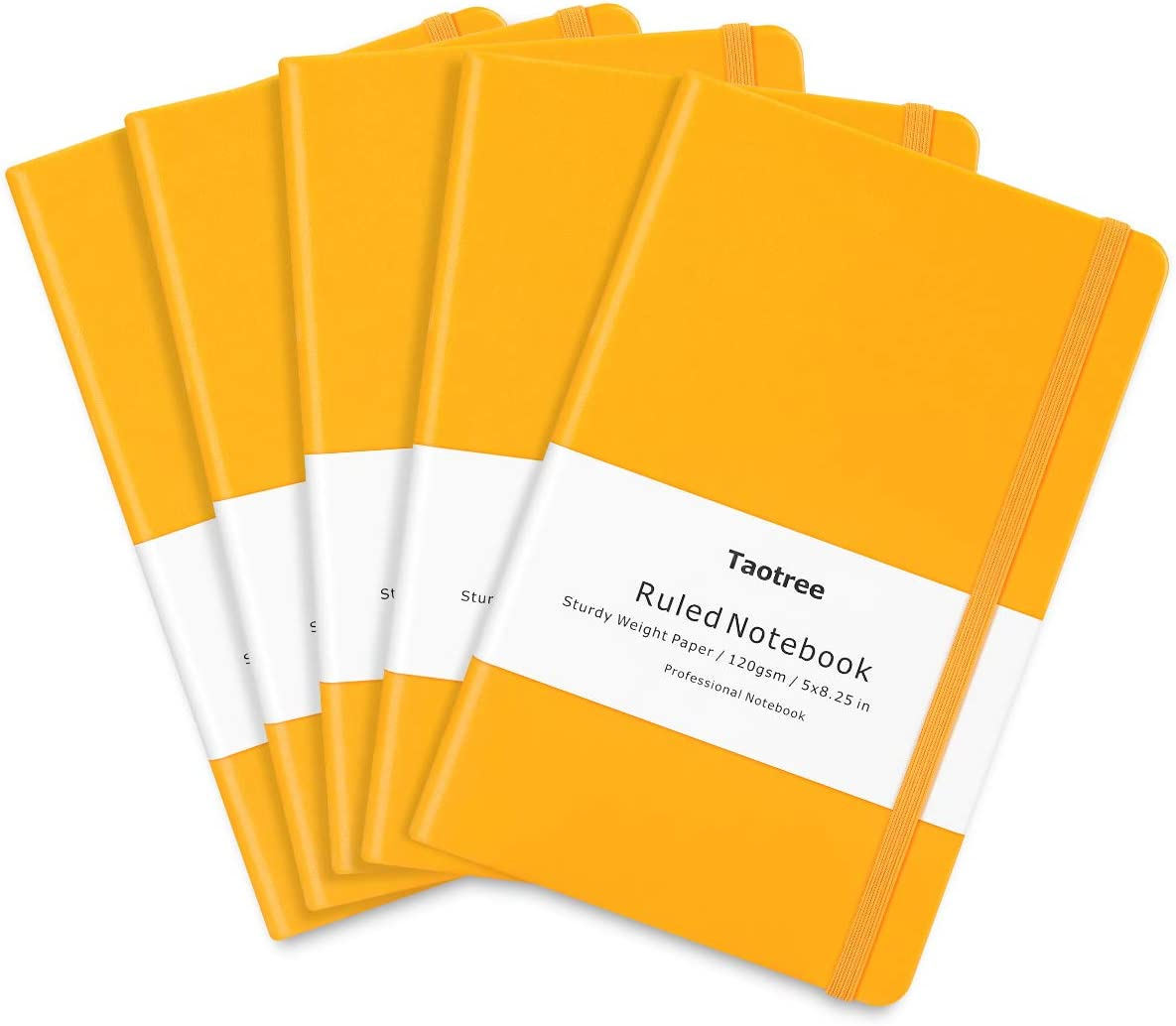 "5 Pack Journal Notebooks, Taotree Yellow Classic Ruled Writing Notebook, Hard Cover PU Leather, 120gsm Premium Thick Paper, Inner Pocket, 128 Pages, 5""×8.25"" for Office Business Supplies"