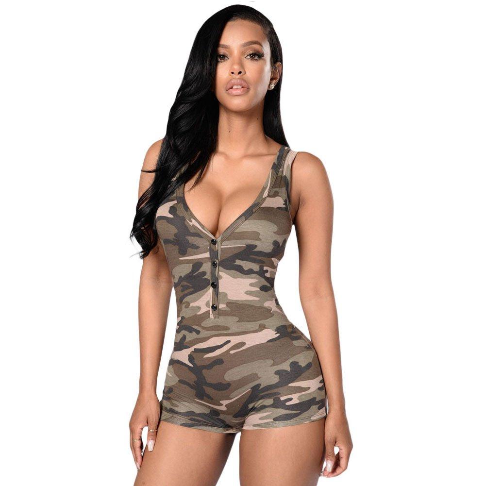 Eiffel Womens Military Camouflage Sport Tanks Short Jumpsuit Romper Bodysuit Eiffel Store LC61215a