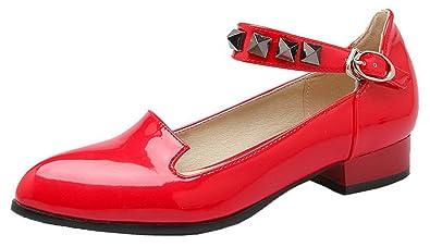 Damen Eingelegt Spitz Zehe Niedriger Absatz Schnalle Pumps Schuhe, Rot, 33 AalarDom