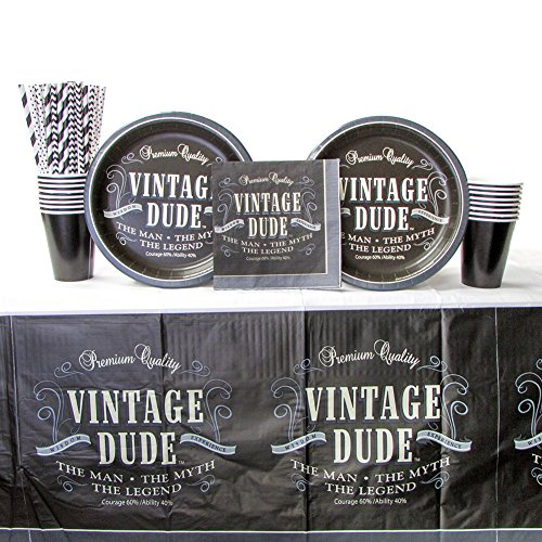 Vintage Dude Party Supplies Pack for 16 Guests: Straws, Dinner Plates, Luncheon Napkins, Cups, and Tablecover (Bundle for 16)