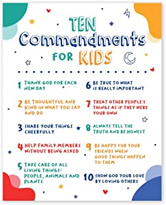 Ten Commandments for Kids Wall Art Prints - Unframed 8x10 in - Bible Verse Posters with God Quotes - Nursery Room Decor, Pictures Christian Sayings and Positive Quotes, Motivational Picture