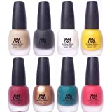 Makeup Mania Premium Velvet Matte Nail Paint Combo (Nude, Black, White, Yellow, Deep Red, Golden, Green, Peach (MM# 17-22))