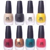 Makeup Mania Premium Velvet Matte Nail Paint Combo (Nude, Black, White, Yellow, Deep Red, Golden, Green, Peach (MM# 17-22))