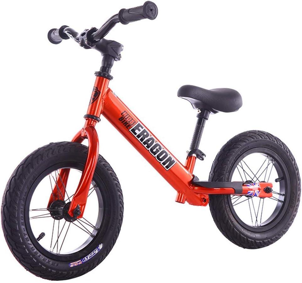 ZLXLX Entrenamiento Balance Car Niños 'S 12-Inch Marco de acero al carbono sin pedal Walking Balance Bicicleta 3-6 años Niños, Rojo,rojo