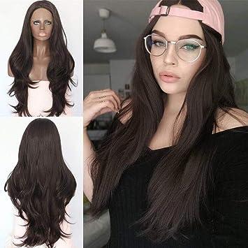 wig Peluca Sintética del Frente del Cordón con Explosiones Pelucas Sintéticas del Pelo del Pelo Negro