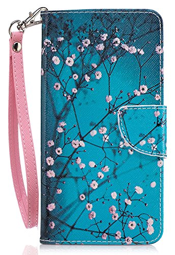 Nokia 6 Case, Nokia 6 Wallet Case, JanCalm [Wrist Strap] [Kickstand] [Card/Cash Slots] Pattern Premium PU Leather Wallet Cell Phone Cases Flip Cover for Nokia 6 + Crystal Pen (Plum blossom)