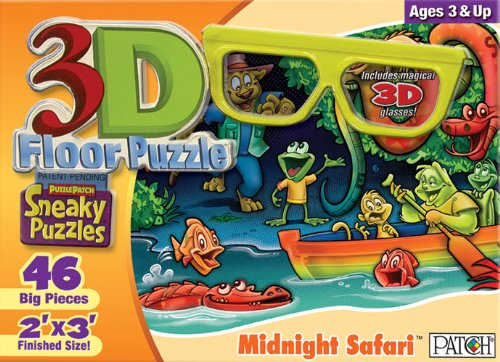 Sided Sneaky Floor Puzzle - 3D Sneaky Puzzles - Midnight Safari