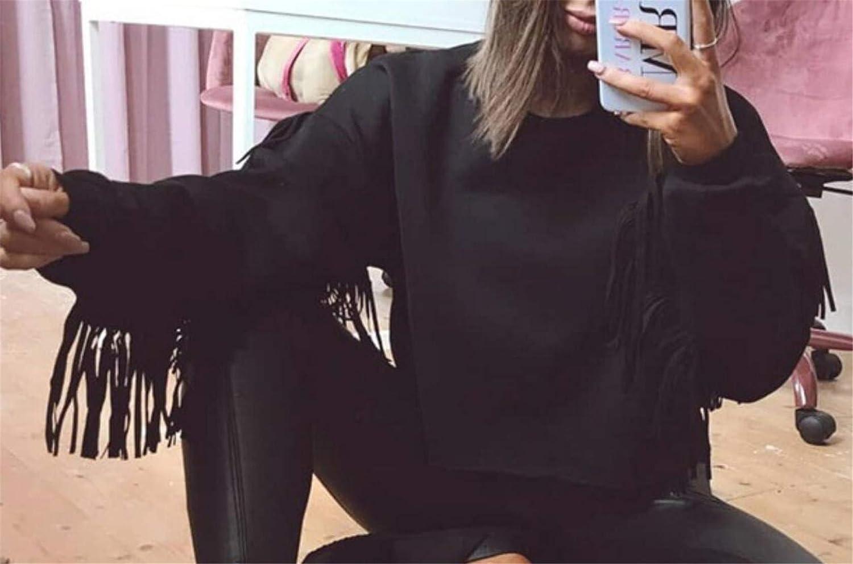 YYear Womens Fashion Hip-hop Loose Tassels Crop Top Pullover Sweatshirts