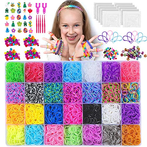 NEOWEEK 11900+ Rainbow Rubber Bands Bracelet Making Kit, 11000 Loom Bands, 600 S-Clips, 252 Beads, 25 Charms, 10 Backpack Hooks, 5 Crochet Hooks, 2 Y Looms
