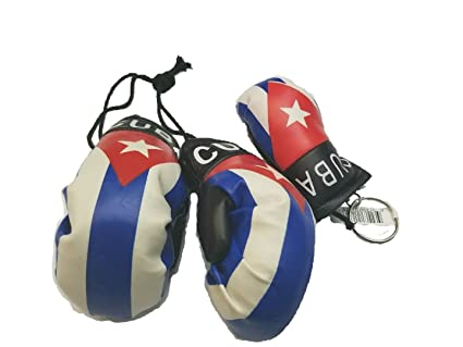 2pcs Cuba Boxing Glove Keychain w/ Cuban Car Mirror Boxing Glove Pair Banner