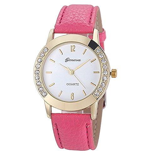 Leder Armbanduhr, rawdah Frauen Diamant Analog Quarz Handgelenk Uhren Hot Pink
