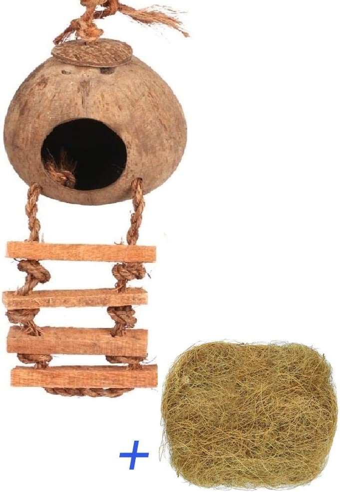 Hanging Bird House Cage Toy for Pet Bird Natural Coconut Fiber for Bird Nest Breeding Bird Nesting Box(Pack of 2) (Bird Coco nest)