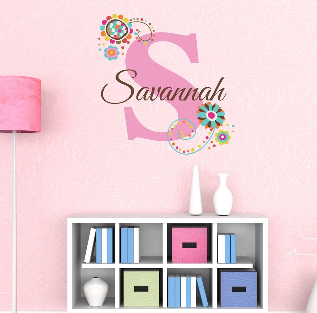 Nursery Custom Name Wall Decal Sticker, 28'' W by 24.5'' H, Girl Name Wall Decal, Girls Name, Wall Decor, Personalized, Girls Name Decor, Girls Nursery, Girls Bedroom, PLUS FREE WHITE HELLO DOOR DECAL