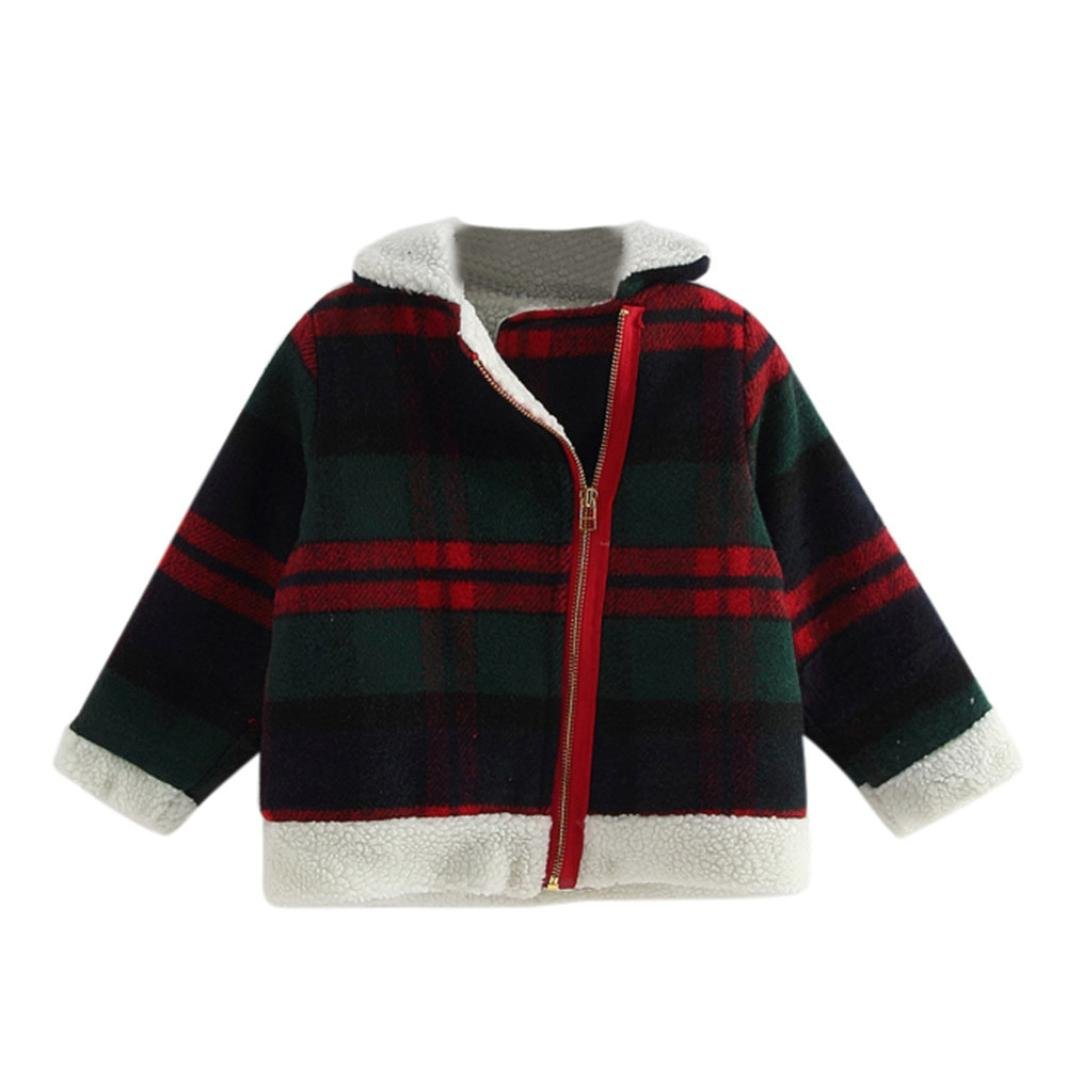 UMFun For 3T-7T Baby Woolen Plaid Coat Jacket Thick Warm Clothes (3T, Green)
