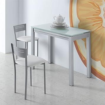 fanmuebles Mesa Cocina Extensible NEREA Cristal - Blanco: Amazon.es ...