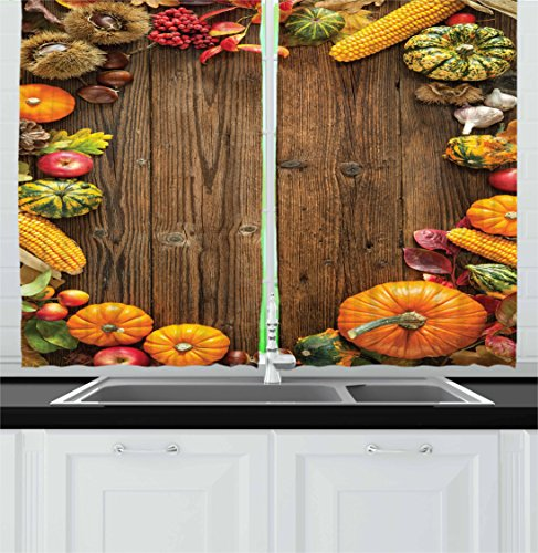 Thanksgiving Kitchen Curtains by Lunarable, Agriculture Theme Harvest Season in the Countryside Ripe Food on Table, Window Drapes 2 Panel Set for Kitchen Cafe, 55 W X 39 L Inches, Brown Multicolor