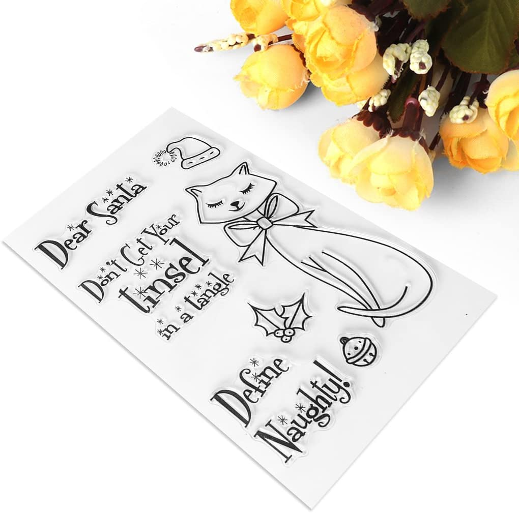 Seaskyer Cat Clear Stamps Sheet Transparent Silicone Seal For DIY Scrapbooking Craft Card Photo Album Decorative DIY Christmas Valentines Thanksgiving Gifts