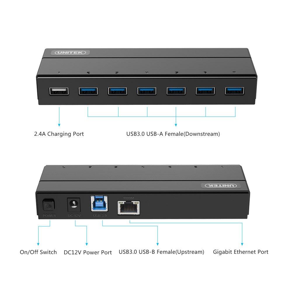 Amazon.com: [7 Port USB HUB + Ethernet Adapter] Unitek USB 3.0 6 ...