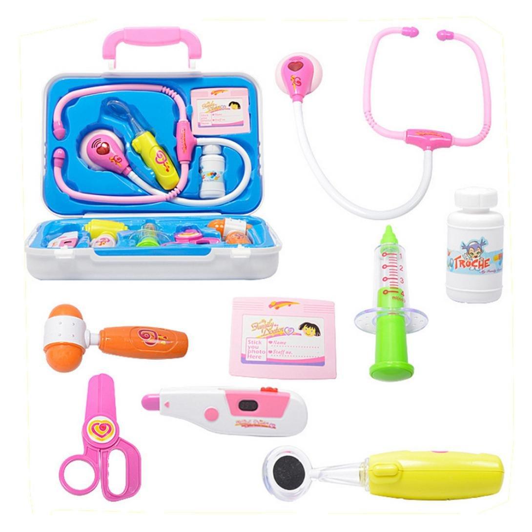 10pcs Kids Baby Doctor Medical Play Carry Set Case Educación Juego de rol Juego de juguete (B)