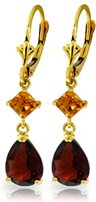 2.5 Ct Yellow Pear Citrine Earring Drop Women Wedding Jewelry 14K Gold Plated