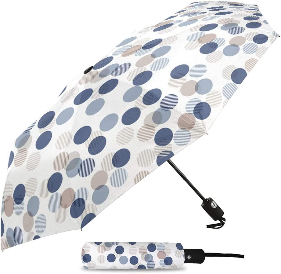 Auto Open and Close Button Travel Umbrella Windproof-White Blue Wave Point,Durable Folding Compact Umbrella for Outdoor Rainy Use