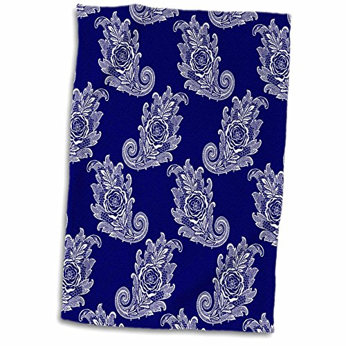 3D Rose Navy Blue and White Paisley Lace Pattern Hand Towel, 15