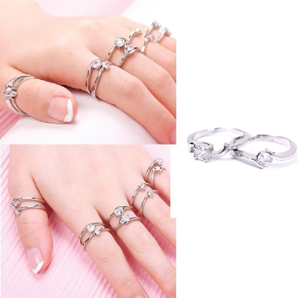 Amazon.com: Fashion Woman Wholesale Lots 10pcs Mixed Silver Zircon ...