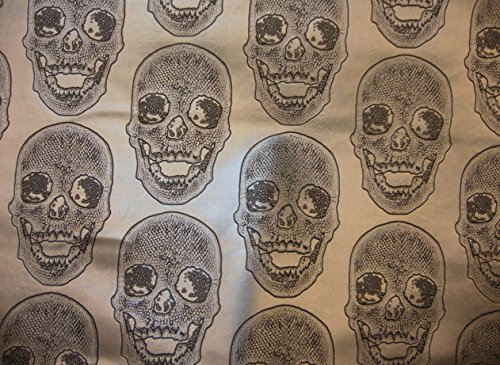 Vinyl Faux Leather BIG Skull Black on Shinny Silver Vinyl Textured Faux Leather Great for Car, Motorcycle, Indoor Outdoor Upholstery, Purses & Bags, Sold By the Yard, 54