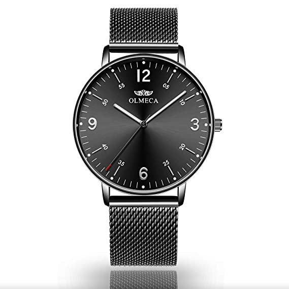 Amazon.com: OLMECA Mens Watches Luxury Wristwatches Waterproof Fashion Quartz Watches Quartz Movement -Simple and Clean Dial - Whole Black: Watches