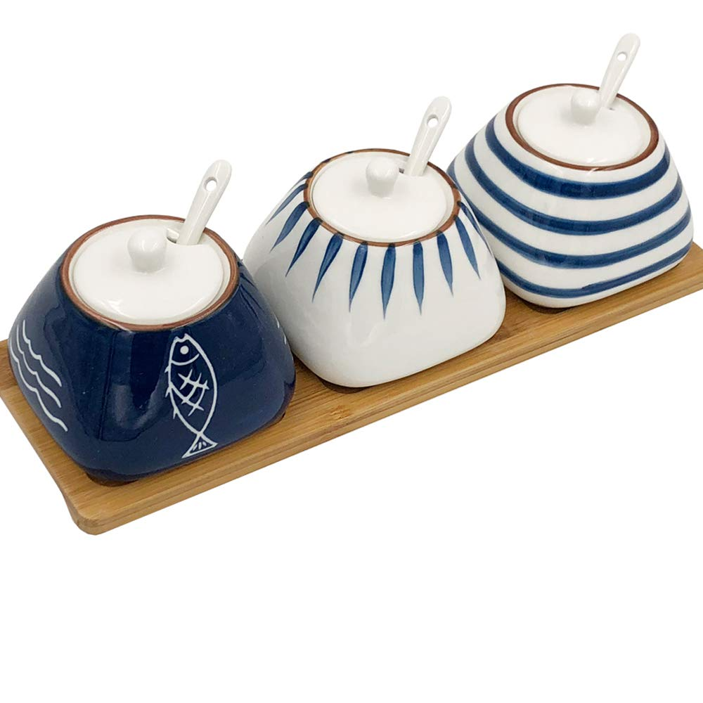 TuuTyss Set of 3 Hand-paint Ceramic Spice Jars Sugar Bowl Container,Condiment Seasoning Box Container Pot Set with Lids,Spoon and Bamboo Tray