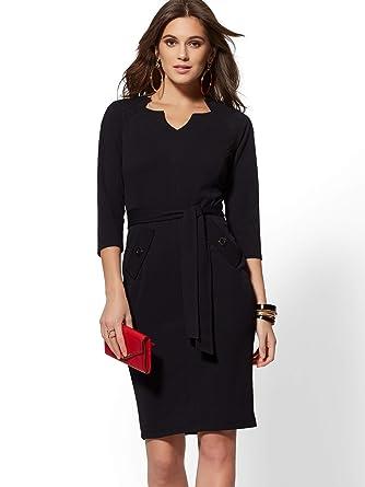 7a043902d New York & Co. Split-Neck Scuba Crepe Sheath Dress - Xsmall Black at Amazon  Women's Clothing store: