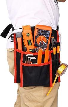 Cinturón de herramientas de reparación 600D Oxford Red Edging Tool Delantal Organizador con cinturón de cintura para hombres mujeres, bolsa de ...