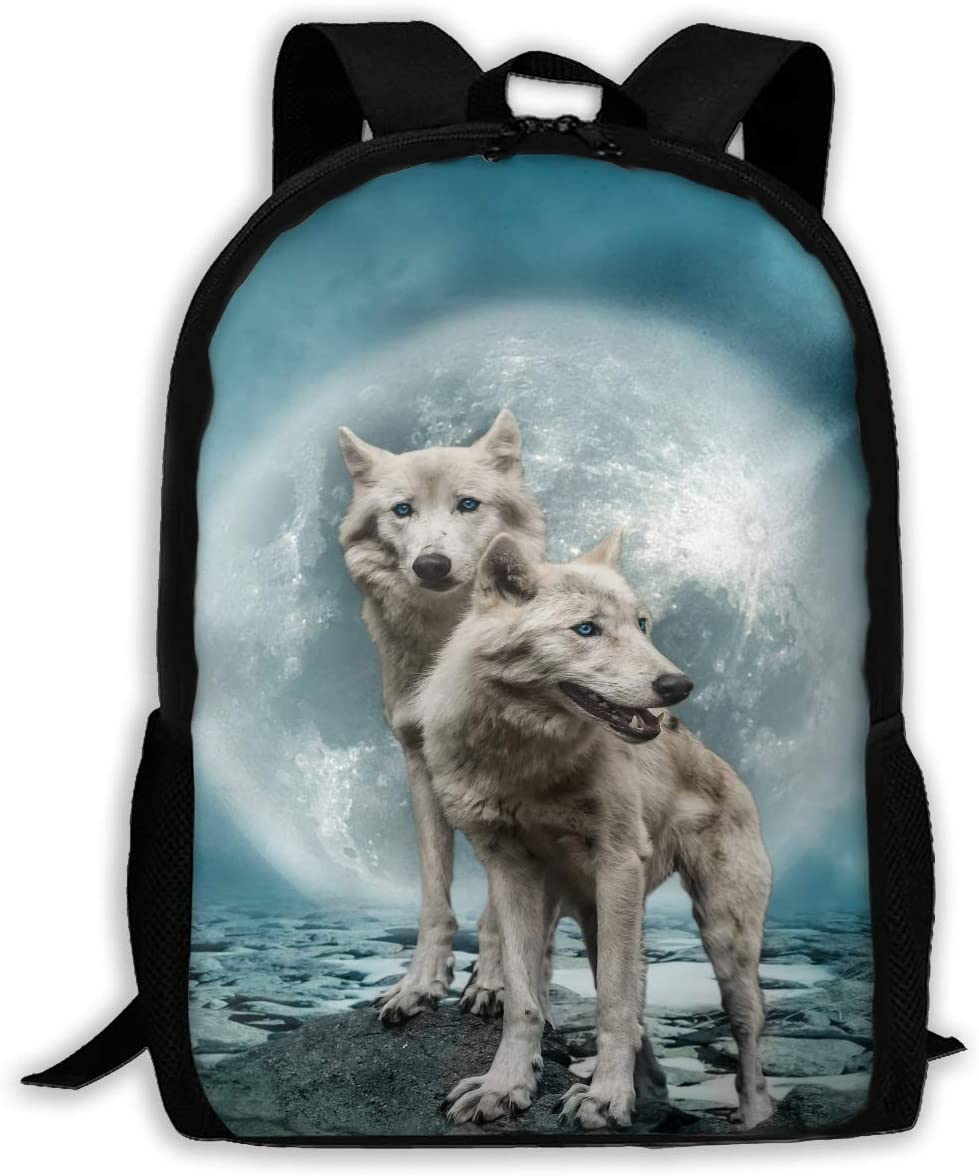 Backpack Rucksack Travel Daypack Lovely Wolf Couple Book Bag Casual Travel Waterproof