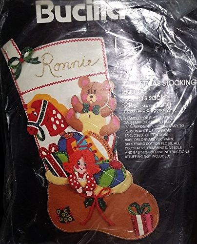 Rare Bucilla Santa's Sack Jeweled Felt Applique Christmas Jumbo Stocking - Stocking Jeweled