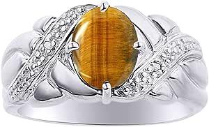 Juego de anillos de diamante y ojo de tigre en plata de ley – anillo de piedra natal de color