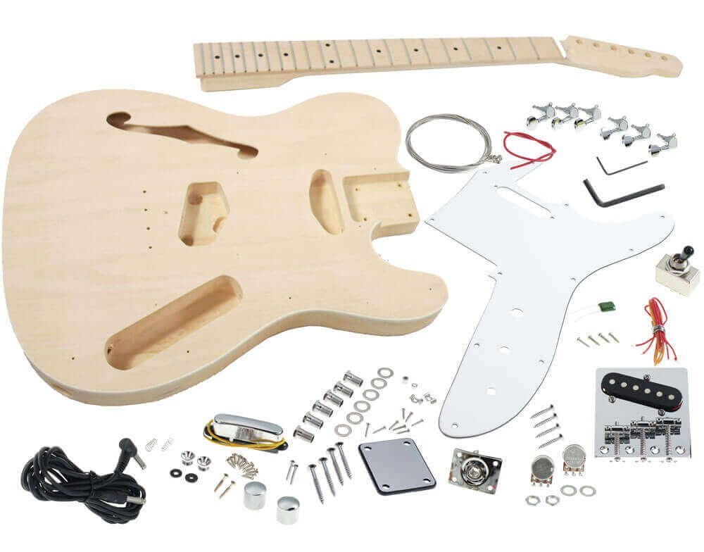 Solo TCK-100 DIY Semi Hollow Electric Guitar Kit With Maple Top Solo Guitars