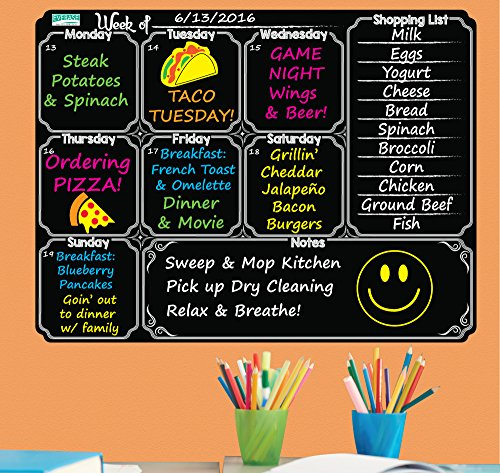 Everase Re-Stic Dry Erase Self-Adhesive Peel & Stick Blackboard Meal Planner | Weekly To Do List (12 x 16 in.) FREE Marker & Cloth | Menu/Diet/Fitness Shopping List | Premium Quality Removable Decal ()