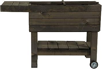 Hochbeet Aus Holz Mit Ablage Fur Kinder Grau Hohe Standsicherheit