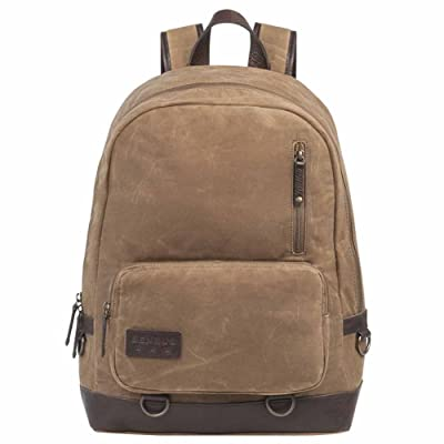 BENRUS Rucksack Backpack Waxed Canvas Leather