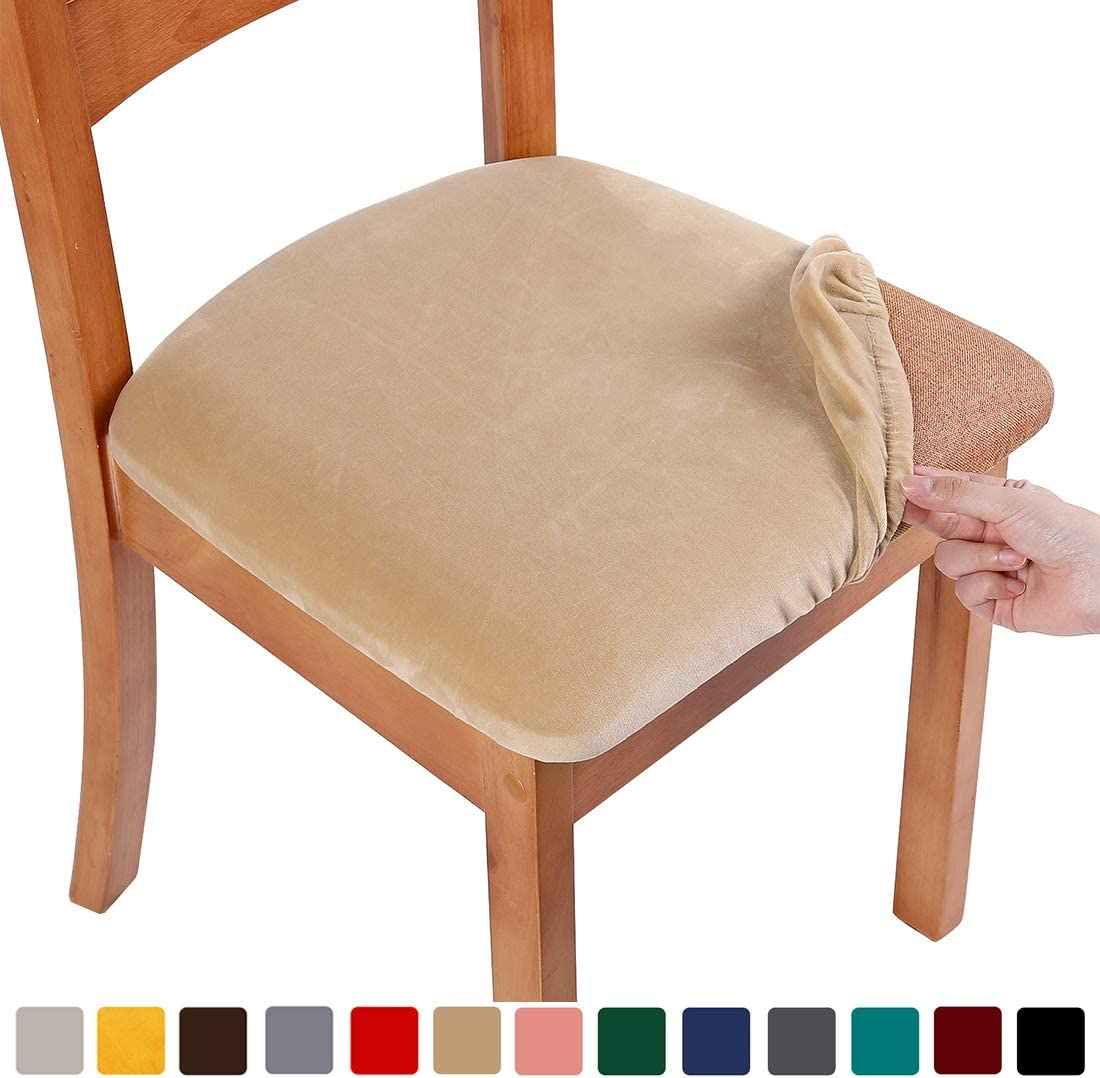 smiry Original Velvet Dining Chair Seat Covers, Stretch Fitted Dining Room Upholstered Chair Seat Cushion Cover, Removable Washable Furniture Protector Slipcovers with Ties - Set of 2, Beige
