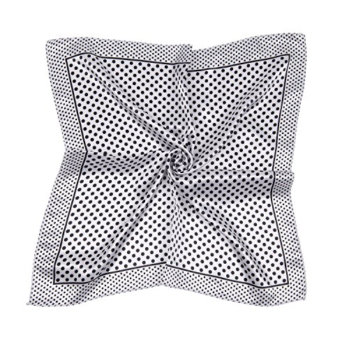 Women's Satin Square Silk Feeling DIY Neck Head Scarf Fashion Accessory (Polka Dot White)]()