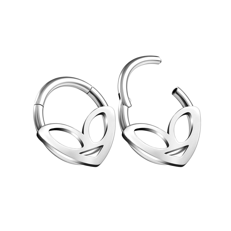 BIG GAUGES Pair of Surgical Steel 16gauges 1.2mm 10mm Alien Hinged Segment Nose Hoop Ring Cartilage Helix Septum Tragus Piercing BG7343