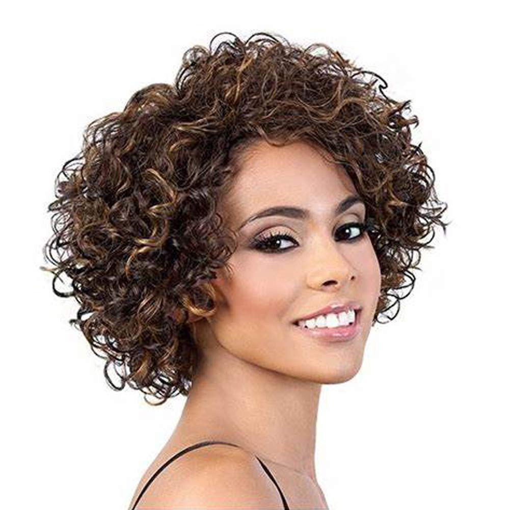 Amazon Com Short Curly Human Hair Wig Udu Ombre Mixed Color None Lace Front Wig P4 27 Kinkys Curly Human Hair Wig Light Brown Curly Wig With Bangs Piano Color Beauty