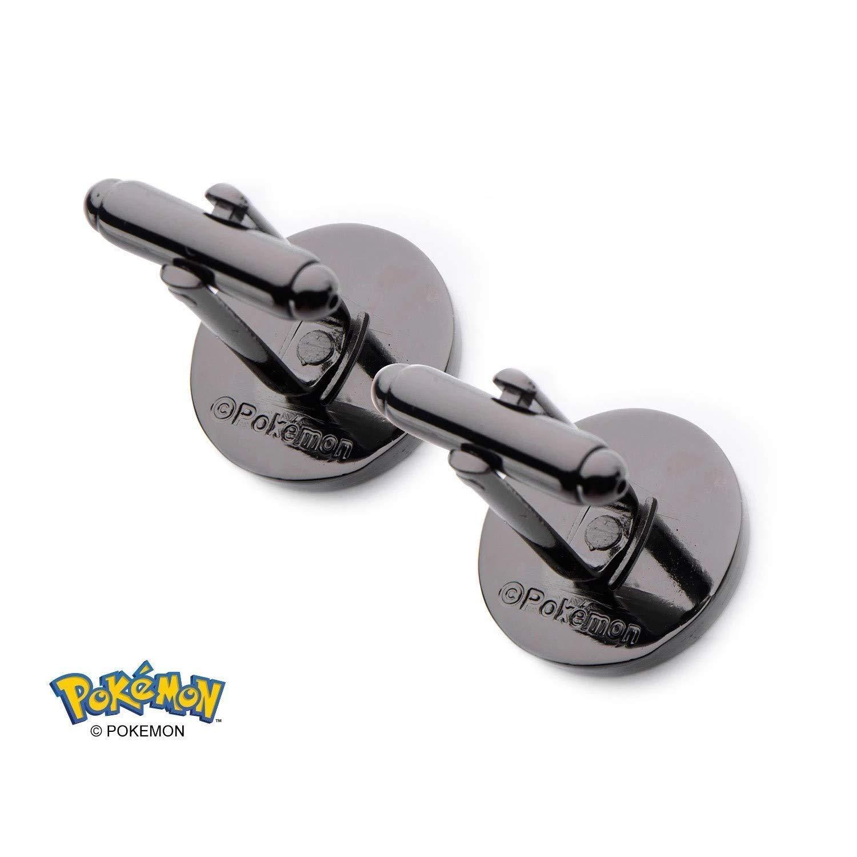 Oficial Pokemon Pokeball inoxidable acero PVD negro plateado gemelos en caja